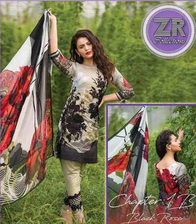 Asifa & Nabeel Silk Dresses - Embroidered Silk Dupatta - Replica - Unstitched