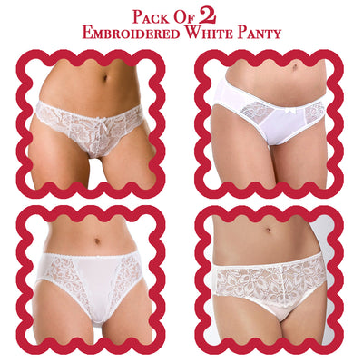 Pack of 2 Embroidered White Panty - Panty - diKHAWA Online Shopping in Pakistan