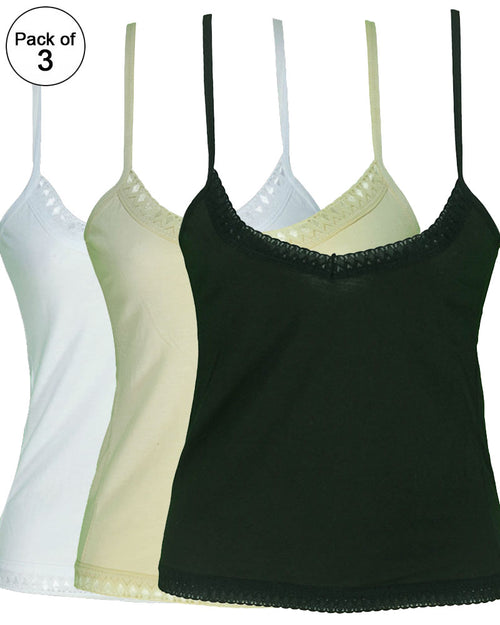 Pack of 3 Plain Cotton Camisole With Neck Lace For Women - SA-1