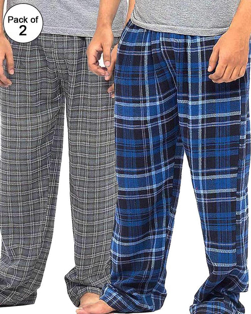 Pack of 2 - Men's Cotton Check Pajama - Cotton Yarn Dyed Flannel Men's Pajama MF-16