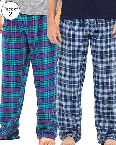 Pack of 2 - Men's Cotton Check Pajama - Cotton Yarn Dyed Flannel Men's Pajama MF-18