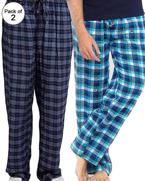 Pack of 2 - Men's Cotton Check Pajama - Cotton Yarn Dyed Flannel Men's Pajama MF-08