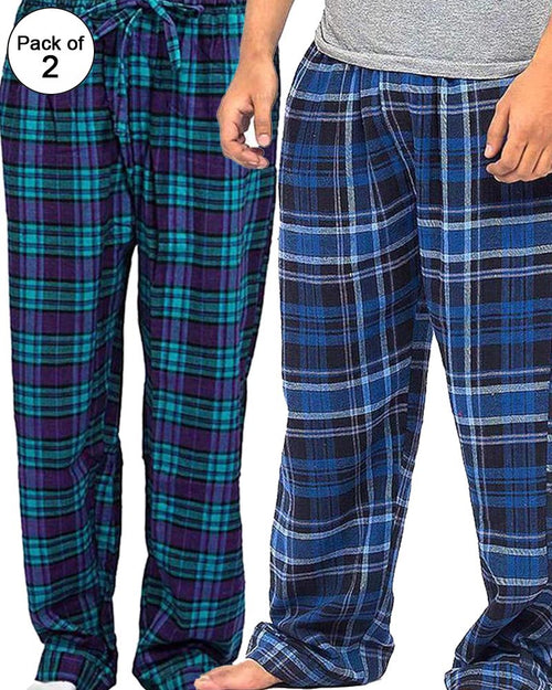 Pack of 2 - Men's Cotton Check Pajama - Cotton Yarn Dyed Flannel Men's Pajama MF-19