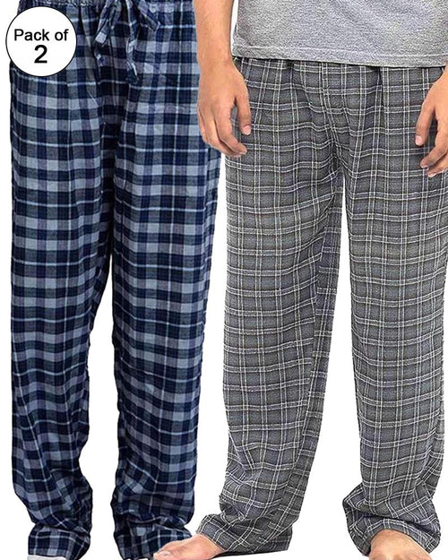 Pack of 2 - Men's Cotton Check Pajama - Cotton Yarn Dyed Flannel Men's Pajama MF-04