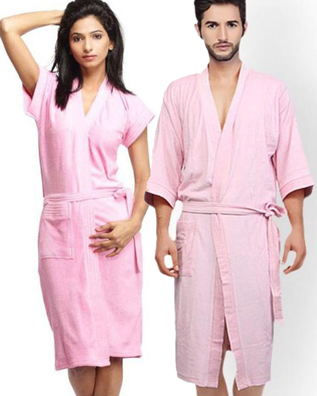 Pack of 2 Wedding Bridal Unisex Bathrobe Soft Cotton - Baby Pink