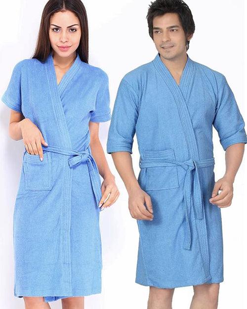 Pack of 2 Wedding Bridal Unisex Bathrobe Soft Cotton - Blue