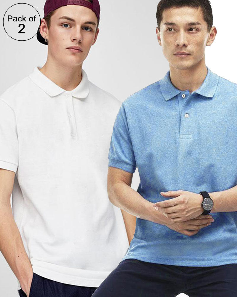 b084bed788596 Pack of 2 Pull   Bear Branded Polo T-Shirt For Mens - Polo Branded T-Shirts