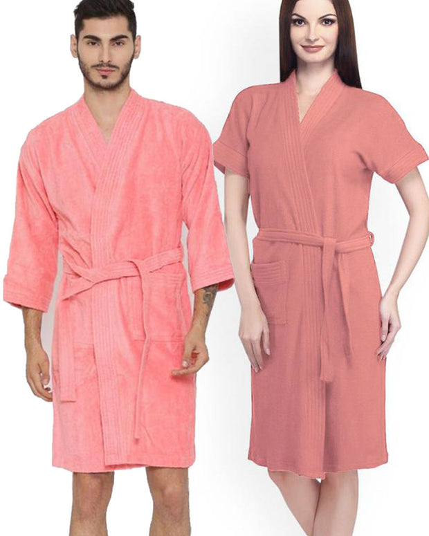 Pack of 2 Wedding Bridal Unisex Bathrobe Soft Cotton - Peach