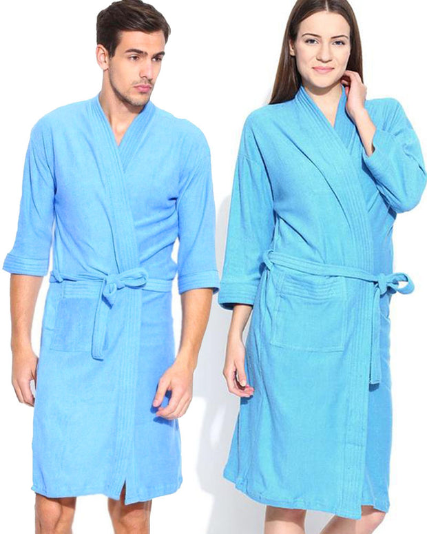 Pack of 2 Wedding Bridal Unisex Bathrobe Soft Cotton - Sky Blue
