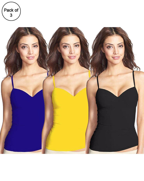 Buy Pack of 3 Fancy Colourful Camisole for Girls - Mix Colours Online in Karachi, Lahore, Islamabad, Pakistan, Rs.{{amount_no_decimals}}, Camisole Online Shopping in Pakistan, Lady Zone, Camisole, Clothings, Size = Free, Women, Online Shopping in Pakistan - diKHAWA Fashion