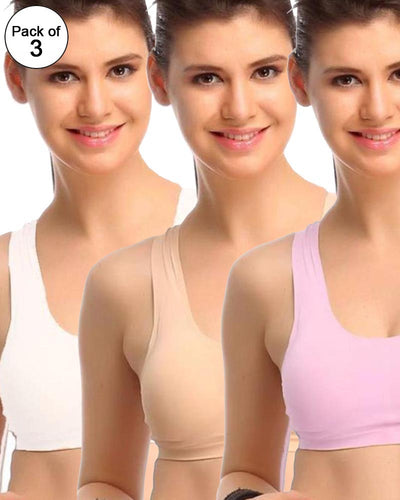 Pack of 3 - Padded Polyamide Sports Bra