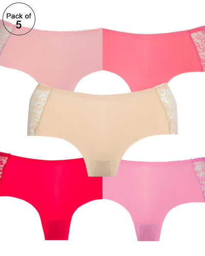 Pack of 5 - Embroidered Cotton Net Panty For Women