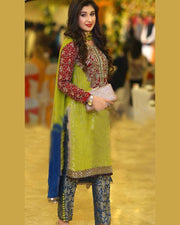 Green Partywear Chiffon Collection (Replica)(Unstitched)