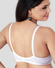 Pallavi Front Open Bra - Tulip Bra - Cotton Embroidered Bra - Non Padded Non Wired Bra