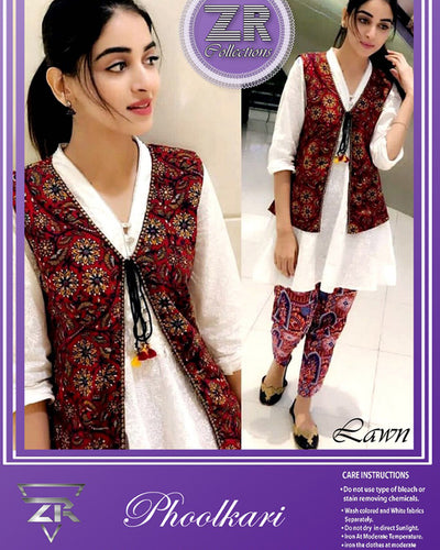 ZR Collection presents Koti style Heavy Embroidered lawn suit (Replica)(Unstitched)