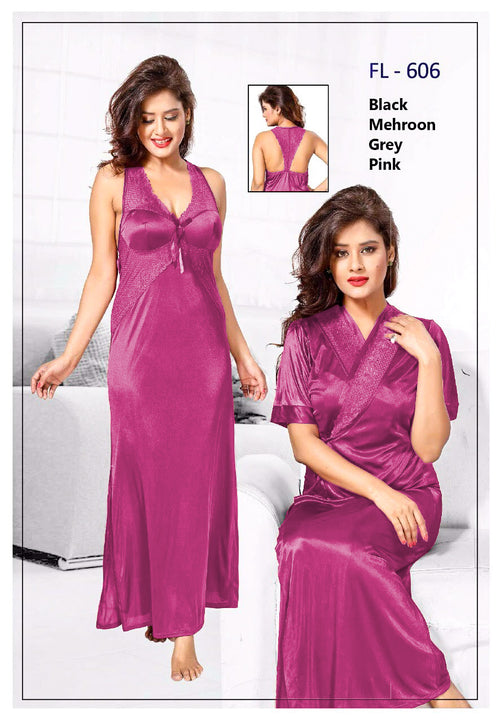 2 Pcs FL-606 - Pink Flourish Exclusive Bridal Nighty Set Collection