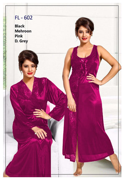 2 Pcs FL-602 - Pink Flourish Exclusive Bridal Nighty Set Collection
