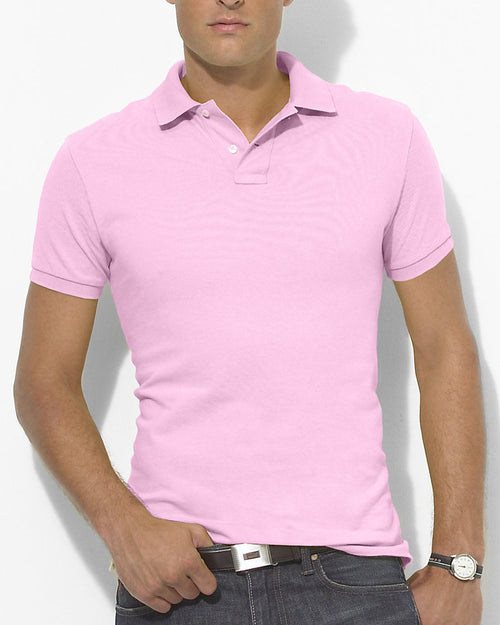 Pull & Bear Branded Polo T-Shirt For Mens - Pink Polo Branded T-Shirts