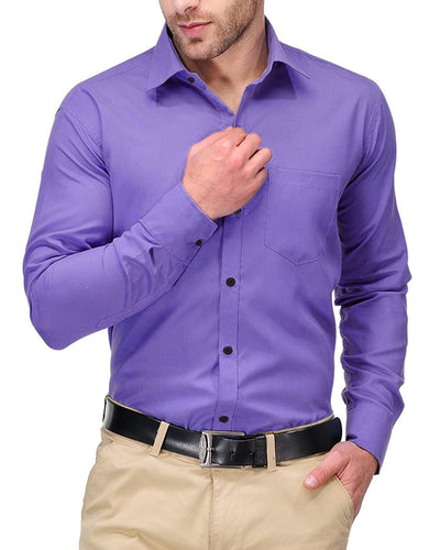 Mens Shirts Plain Purple - Casual Shirts By Tommy Hilfiger