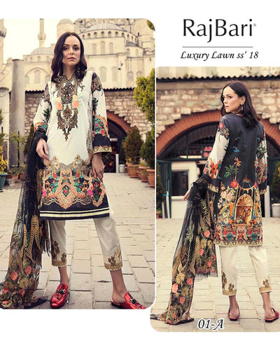 RajBari Luxury SS' Lawn Suits By Shiwani - 3 Piece Lawn Suits - 01-A (Replica)(Unstitched)