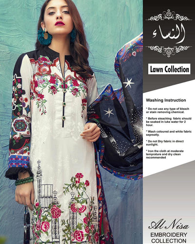 Raj Bari Lawn With Chiffon Dupatta (Replica)(Unstitched)