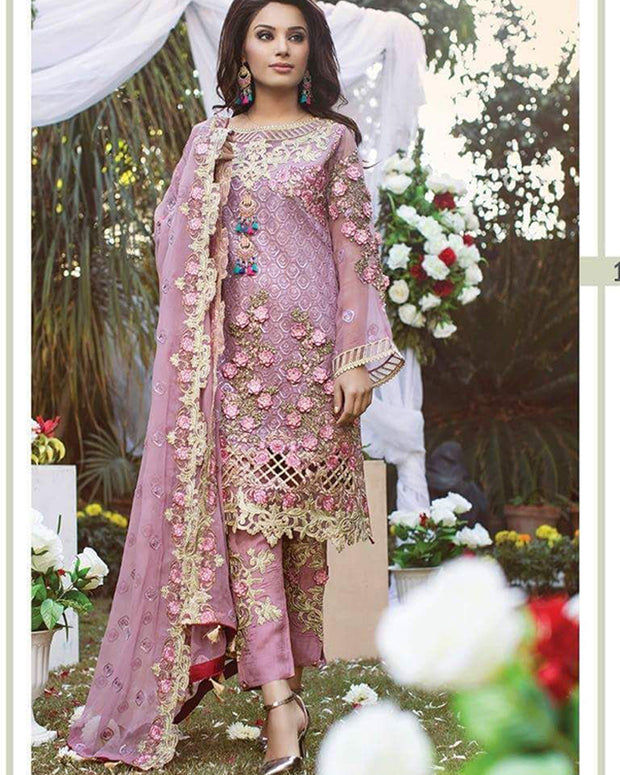 Ramsha Chiffon Embroidery Suit With Chiffon Embroidery Dupatta (Replica)(Unstitched)