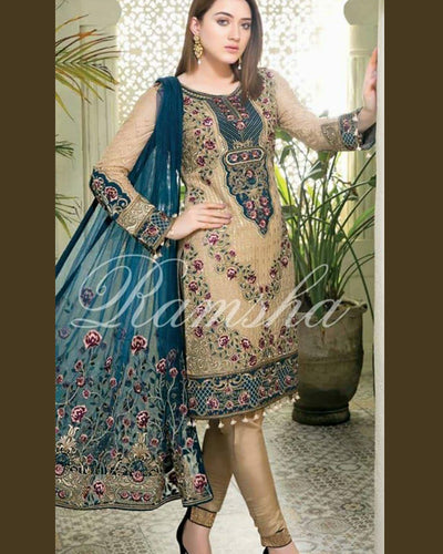 Ramsha Full Heavy Embroidered Suit With Chiffon Dupatta (Replica)(Unstitched)