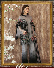 Charizma Luxury Print Embroided Chiffon Suit With Chiffon Embroidered Dupatta (Replica)(Unstitched)