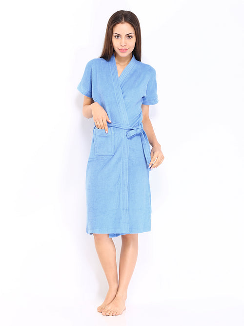 Ladies Bathrobe Soft Cotton - Blue