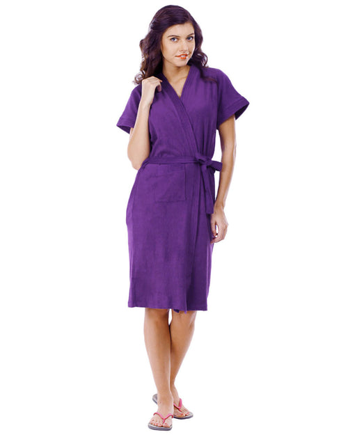 Buy Ladies Bathrobe Soft Cotton - Purple Online in Karachi, Lahore, Islamabad, Pakistan, Rs.{{amount_no_decimals}}, Ladies Bathrobe Online Shopping in Pakistan, Thailand Lingerie, Bathrobe, Clothing, Color = Purple, Made in Thailand, Material = Cotton Towel, Size = Free, Women, Online Shopping in Pakistan - diKHAWA Fashion