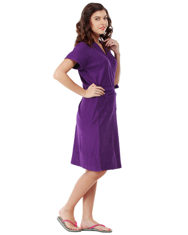Ladies Bathrobe Soft Cotton - Purple