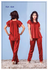 2 Pcs FL-614 - Red Flourish Exclusive Bridal Nighty Set Collection