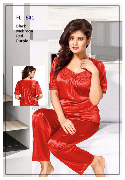 2 Pcs FL-641 - Red Flourish Exclusive Bridal Nighty Set Collection