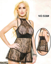 Bridal Sexy Transparent Short Lace Nighty - S38