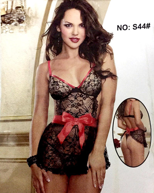 Romantic Silk Short Nighty For Women - S44