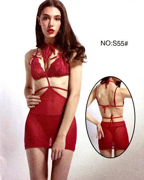 Romantic Net Short Nighty For Women - S55