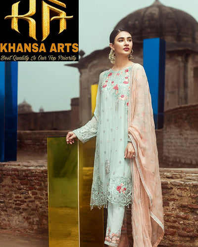 SERENE CHIFFON Master Replica By KHANSA ARTS With EMBROIDERED DUPATTA - SR-001 (Replica)(Unstitched)