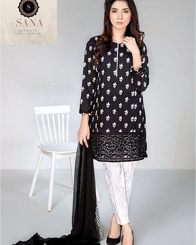 Sana Designer Lawn Collection By Shiwani Black & White (Replica)(Unstitched)