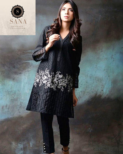 Sana Designer Lawn Collection By Shiwani Black (Replica)(Unstitched)