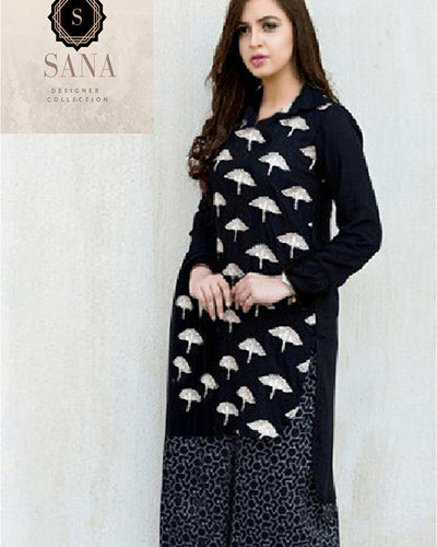 SANA DESIGNER BLACK & WHITE DRESS (Replica)(Unstitched)