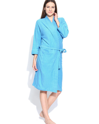 Ladies Bathrobe Soft Cotton - Sky Blue