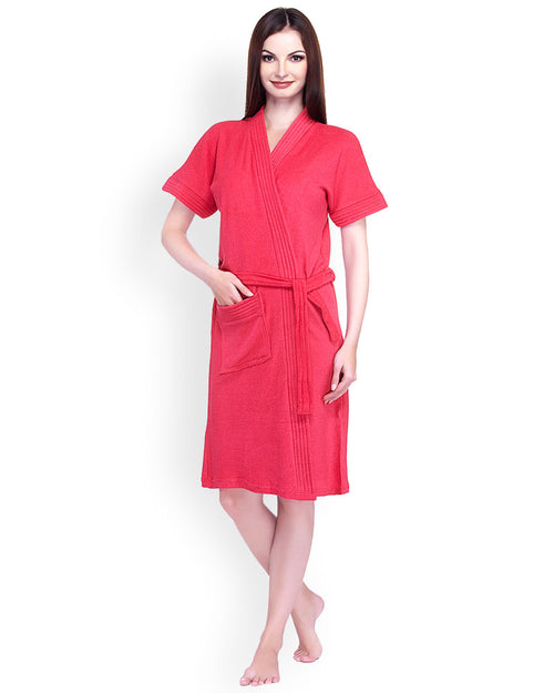 Ladies Bathrobe Soft Cotton - Red