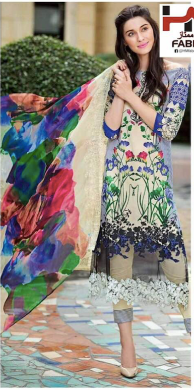Gul Ahmed Collection Fabric Lawn Silk & Cotton - Replica - Unstitched