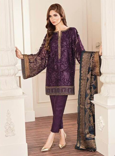 Baroque Collection Fabric Chiffon Dupatta Organza Trouser Malai - Replica - Unstitched