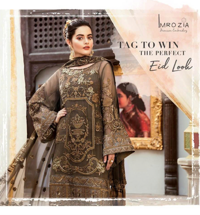 Imrozia Collection Embroidered Chiffon For Front Embroidered Organza Border For Front - Replica - Unstitched