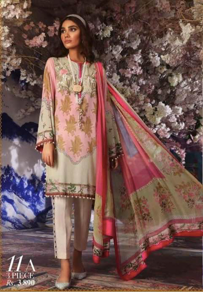 Sana Safinaz Lawn Collection Heavy Embroidery Body Bunches Printed Lawn Front - Replica - Unstitched