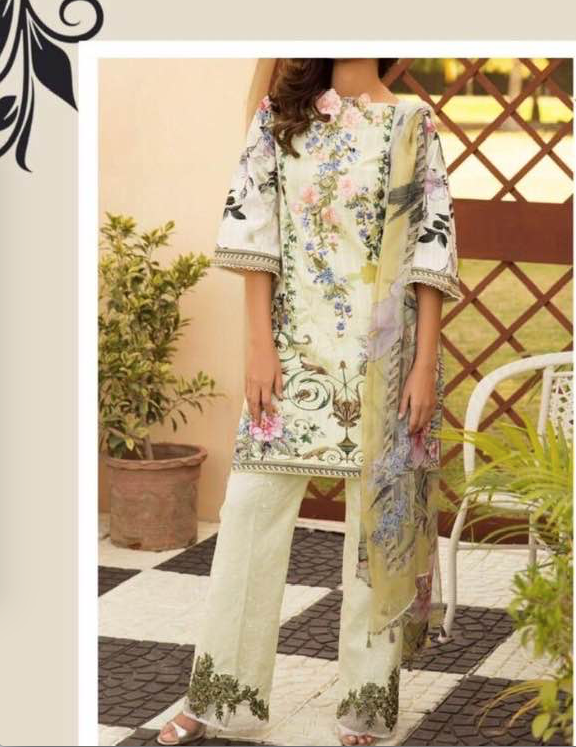 Firdouse Latest Collection Now Available Full Suit On Lawn With Lawn Printed Dupatta - Replica - Unstitched