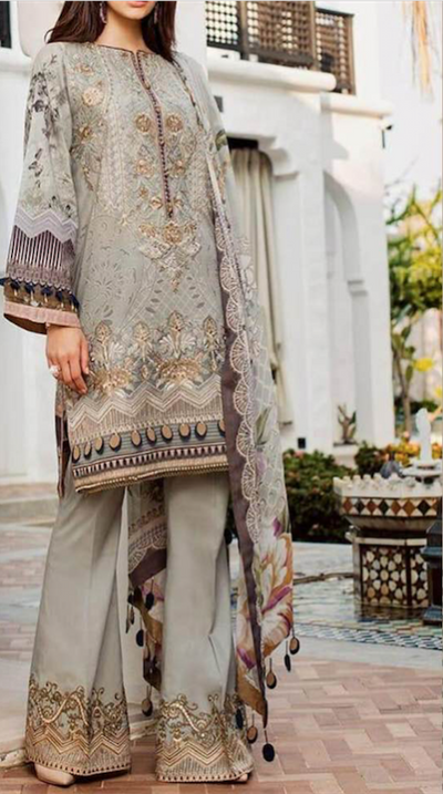 Barouqa Lawn Collection With Heavy Embroidered Front On Peace With Heavy Embroidered Daman Boarder - Replica - Unstitched