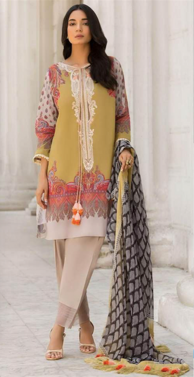 Sobia Nazir Lawn Colletion With Chiffon Dupatta - Replica - Unstitched