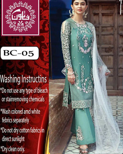 Serene Chiffon Collection With Net Heavy Embroidered Dupatta - BC-05 (Replica)(Unstitched)